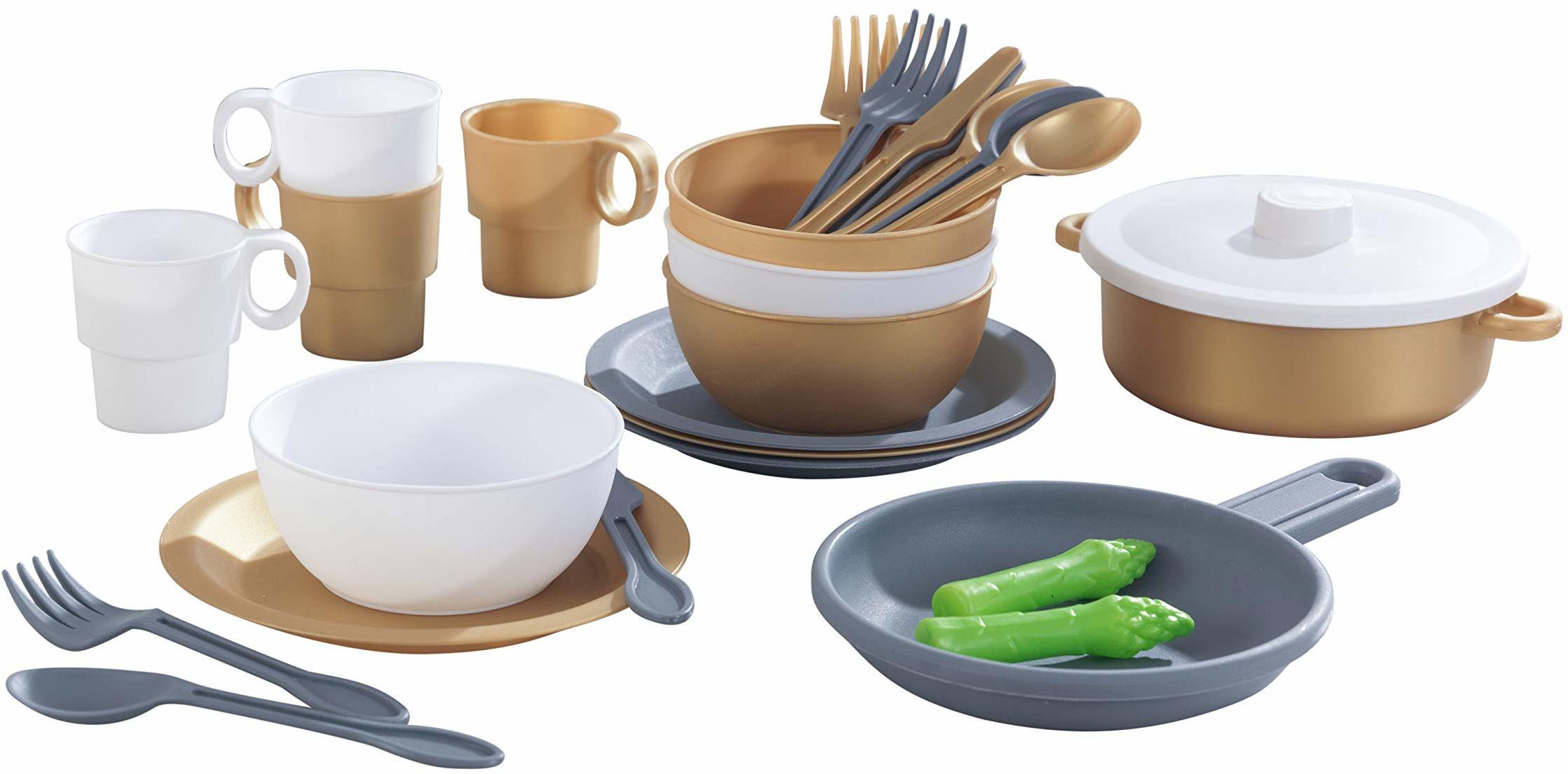 KidKraft 63532 27-częściowy zestaw kuchenny o szlachetnym metalicznym wyglądzie
