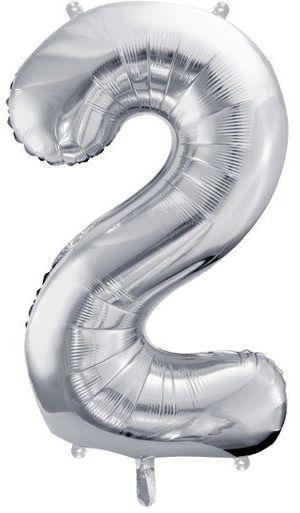Balon foliowy 2 srebrny 86cm 1szt FB1M-2-018
