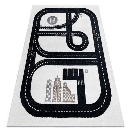 Dywan FUN Track dla dzieci, ulica, miasto krem 120x170 cm