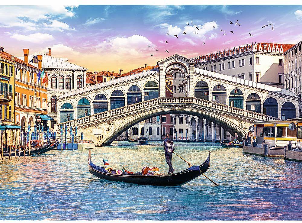 Trefl Most Rialto, Wenecja Puzzle 500 Elementów o Wysokiej Jakości Nadruku dla Dorosłych i Dzieci od 10 lat