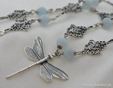 Ważka i naturalne akwamaryny - srebrny naszyjnik