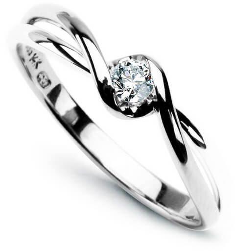 Złoty pierścionek zaręczynowy - Diament