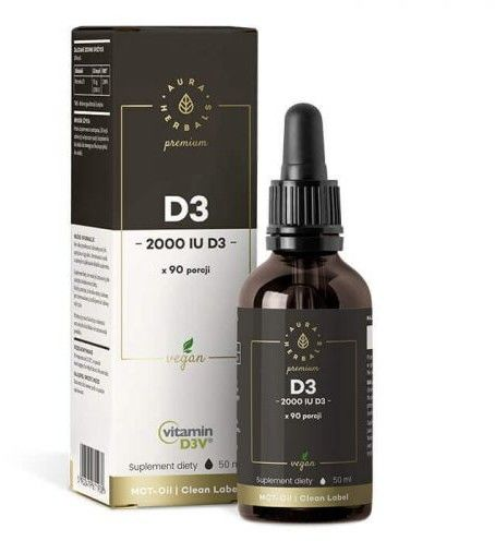 Witamina D3 2000 PREMIUM Vegan D3V, krople (50ml)