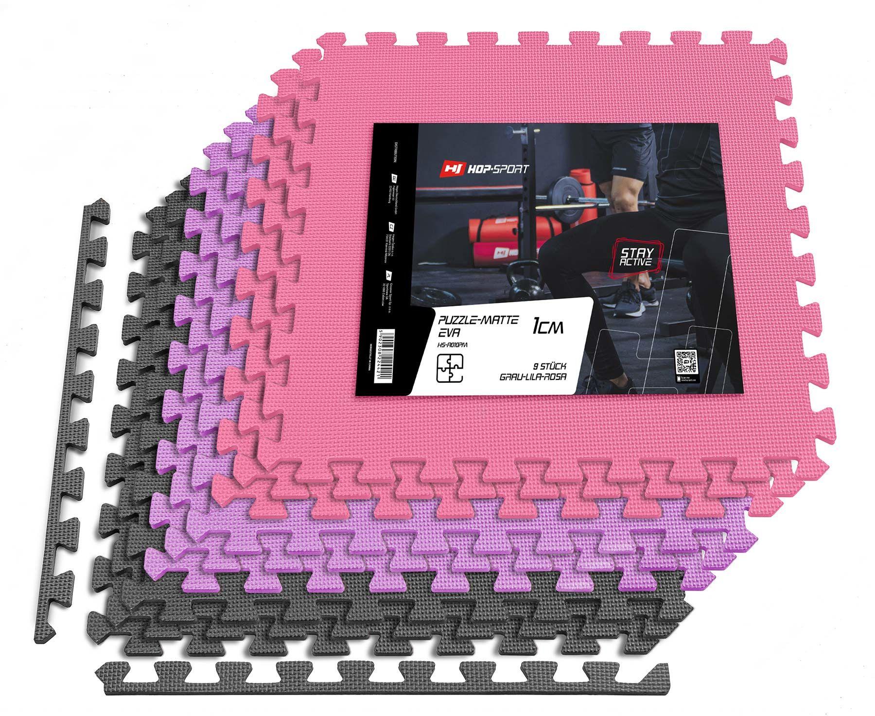 Mata puzzle EVA 1cm szaro/fioletowo/różowa - 9 sztuk