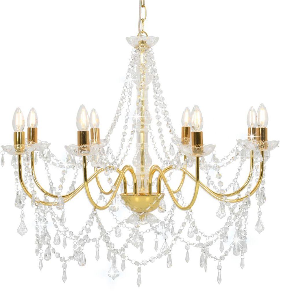 Złoty żyrandol kryształowy świecznikowy - EX98-Antos