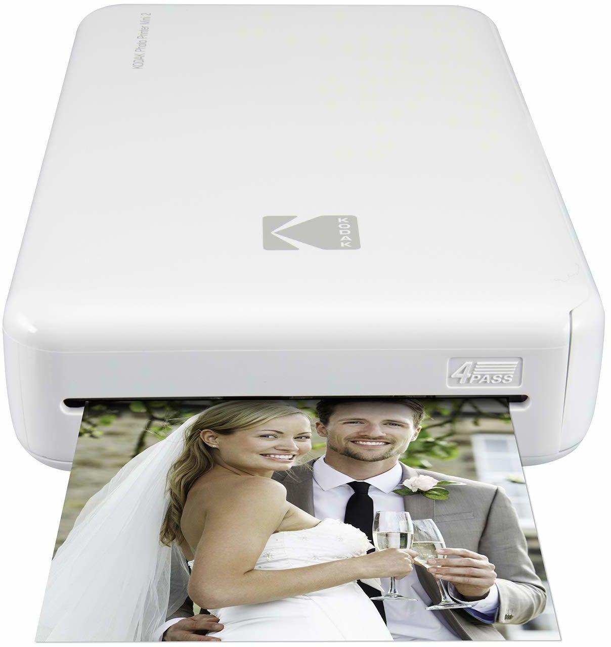Kodak Bezprzewodowa drukarka fotograficzna Mini 2 HD z opatentowaną technologią druku (biała)  kompatybilna z urządzeniami iOS i Android  prawdziwy atrament w jednym