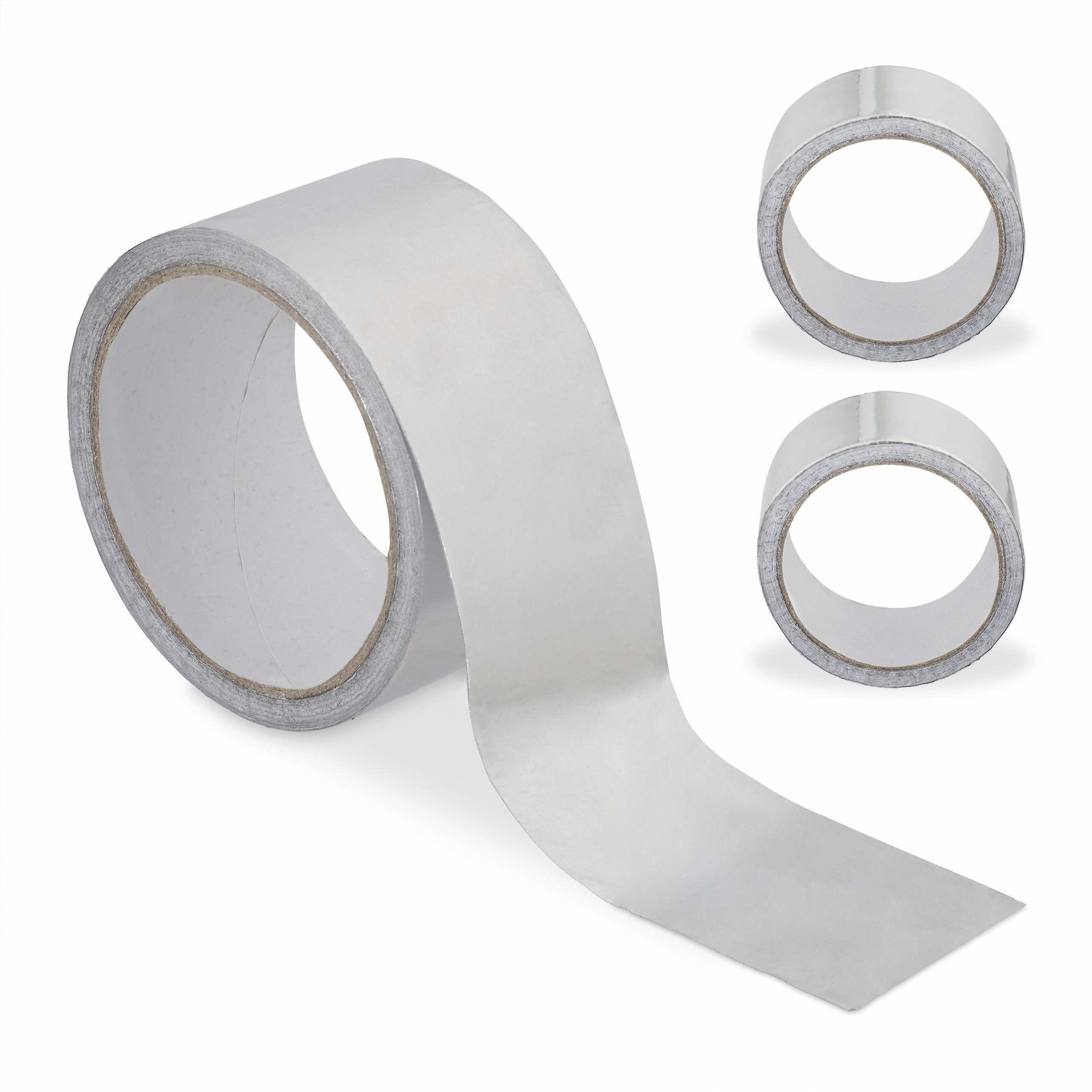 Relaxdays Aluminiowa taśma klejąca, zestaw 3-częściowy, odporna na działanie wody i ciepła, naprawa, uszczelnianie, szerokość 48 mm, długość 10 m, srebrna
