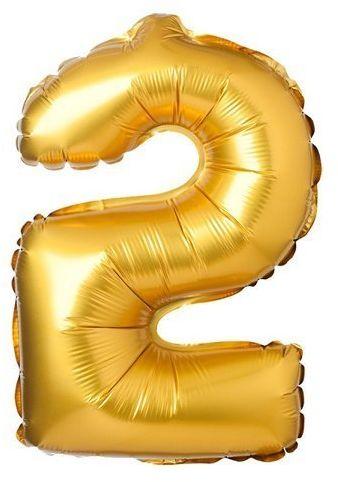 Balon foliowy cyfra 2 złoty 71cm 1 sztuka BLF3872-2