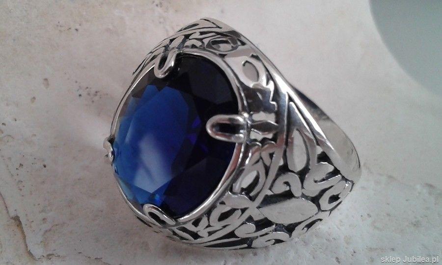 Leon - srebrny pierscień, sygnet z szafirem