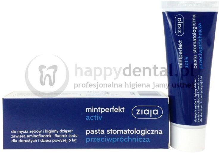 ZIAJA MINTPERFECT ACTIV pasta 75ml - przeciwpróchnicza pasta do zębów zawierająca aminofluorek i fluorek sodu
