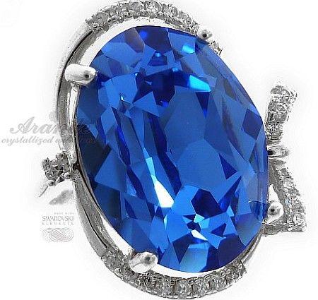 Swarovski Przepiękny Pierścionek Sapphire Rozmiary