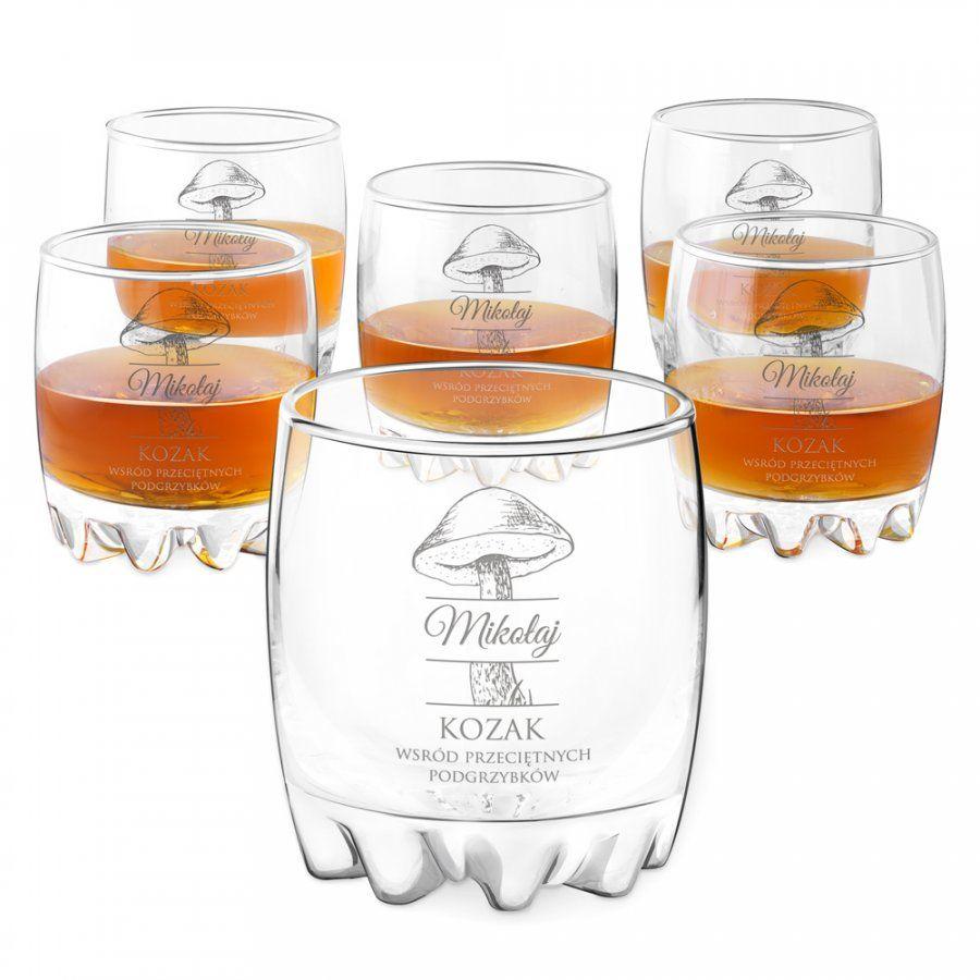 Szklanki grawerowane sylwana x6 kozak dla grzybiarza