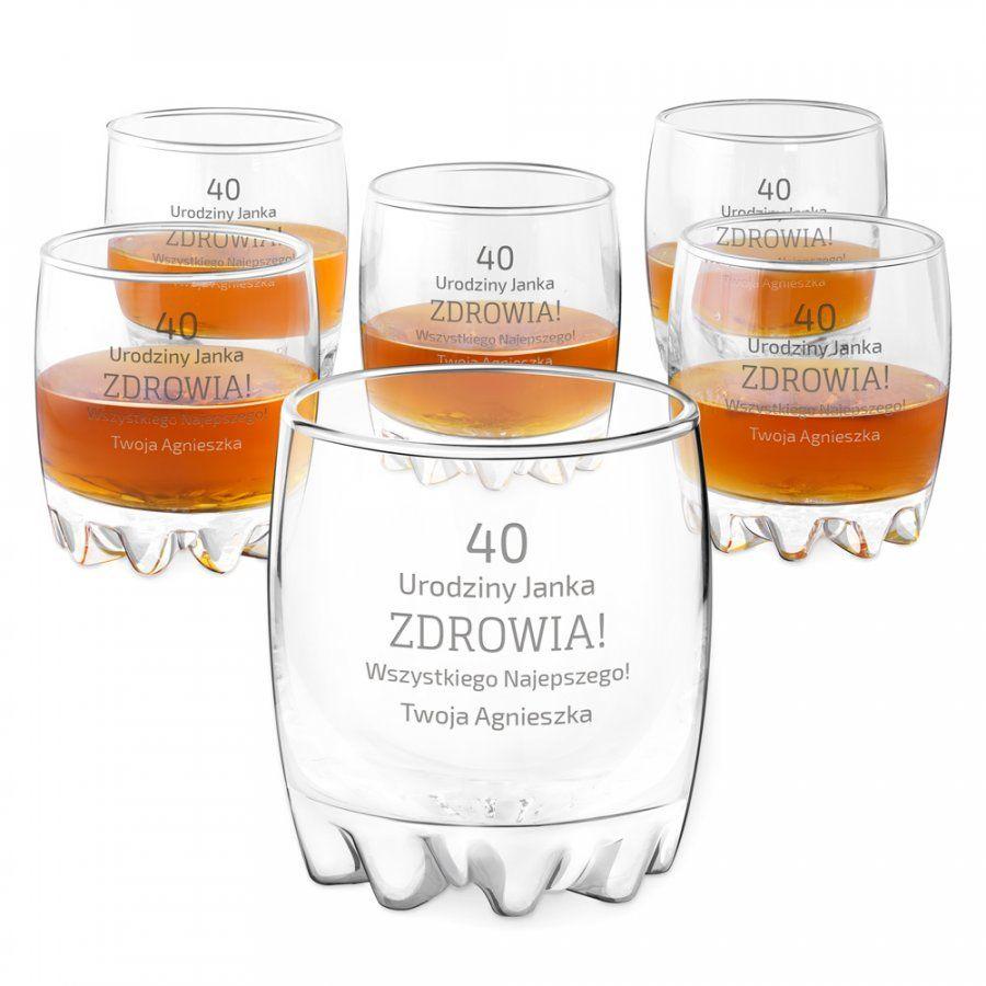 Szklanki grawerowane sylwana x6 z dedykacją dla niego na urodziny