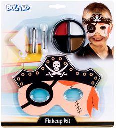 Boland 45111  zestaw do makijażu mały pirat, paleta do makijażu, 4 kolory z aplikatorem, gąbką, szminką i maską, do kostiumu, na karnawał, imprezę tematyczną, Halloween