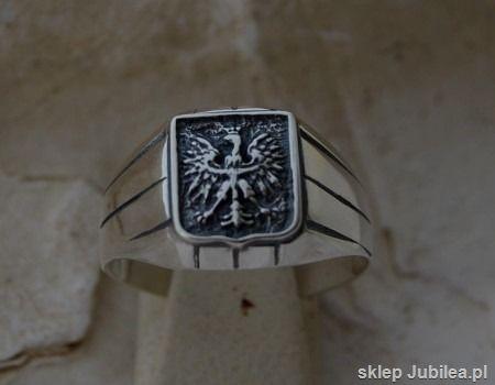 Godło - srebrny sygnet z orłem w koronie