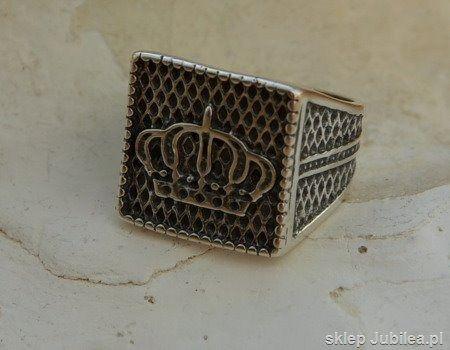 Srebrny sygnet 925 - korona królów