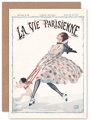 Artery8 La Vie Parisienne Love Guides Us okładka zapieczętowana kartka z życzeniami plus koperta wewnątrz pusta