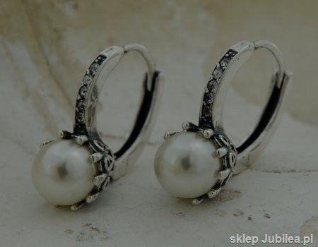 Lizbona srebrne kolczyki z perłą angielskie zapięc