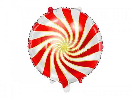 """Balon foliowy Cukierek, biało-czerwony 14"""""""