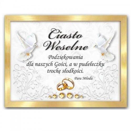 Etykieta na ciasto weselne, podziękowanie dla gości, Glamour & Chic złote, 25 szt.