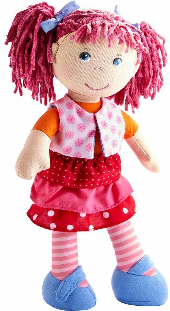 Haba 302842 - Lalka Lilli-Lou, słodka lalka miękka i materiałowa od 18 miesięcy, z ubraniami i włosami, 30 cm