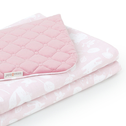 MAMO-TATO Kocyk dla dzieci i niemowląt 75x100 LUX Velvet pikowany dwustronny Las pastelowy róż / różany
