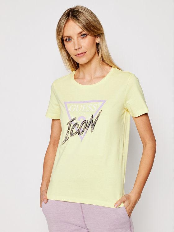Guess T-Shirt Icon Tee W1RI25 I3Z00 Żółty Regular Fit