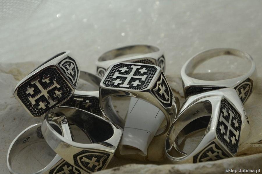 Krzyż jerozolimski - srebrny męski sygnet
