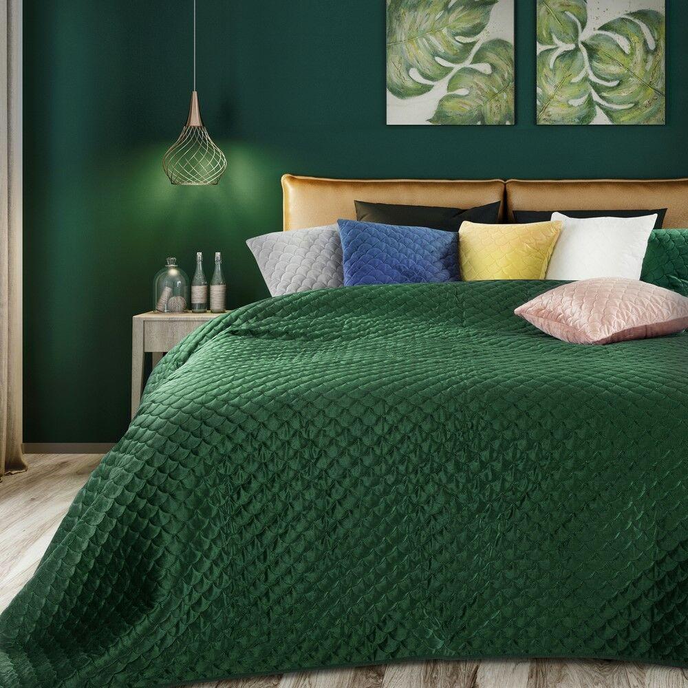 Narzuta dekoracyjna 170x210 Ariel ciemna zielona welurowa Eurofirany