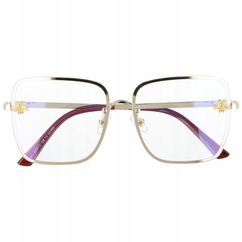 Okulary Kwadratowe z filtrem światła niebieskiego do komputera zerówki 2535