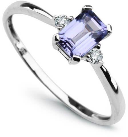 Złoty pierścionek - Diament Tanzanit