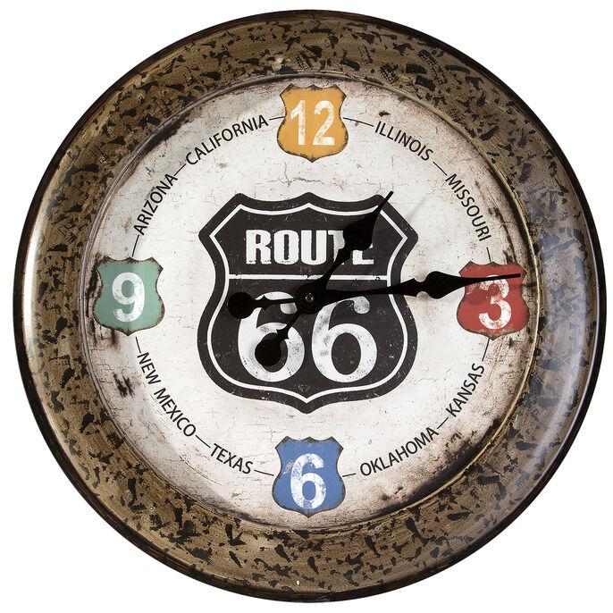 Zegar ścienny 51x5 Moto 01 metalowy brązowy Route 66 Mother Road droga matka Eurofirany