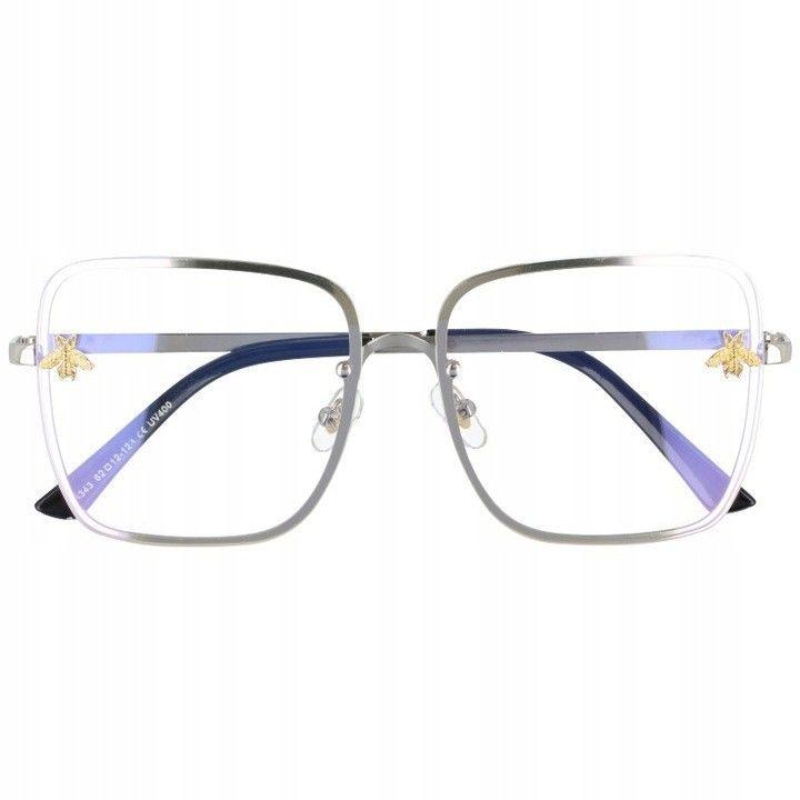 Okulary Kwadratowe z filtrem światła niebieskiego do komputera zerówki 2535-2
