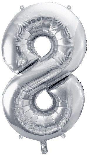 Balon foliowy 8 srebrny 86cm 1szt FB1M-8-018