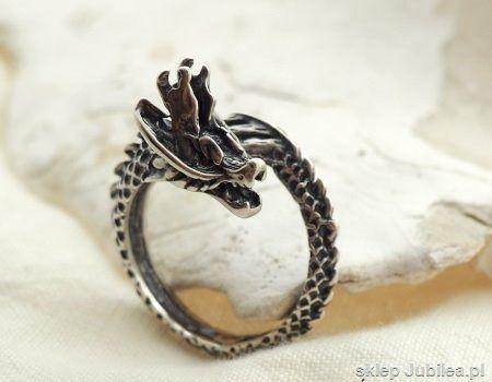 Srebrny sygnet pierścień smoka - dragon