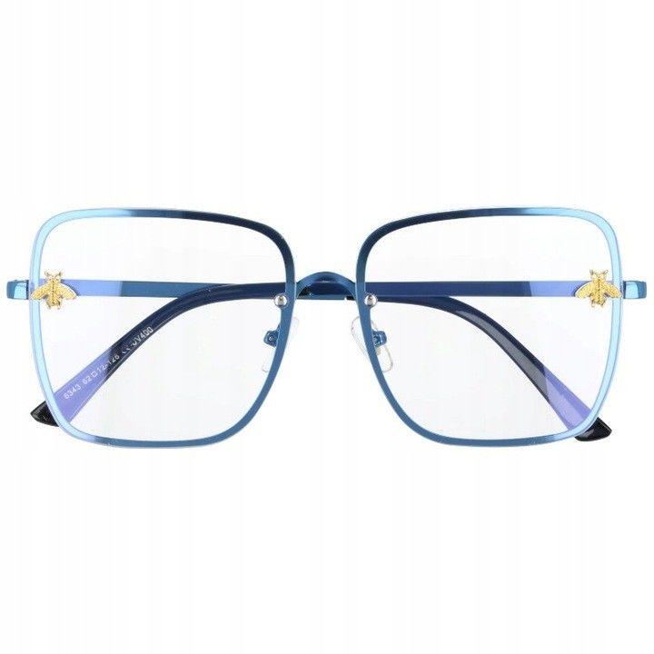 Okulary Kwadratowe z filtrem światła niebieskiego do komputera zerówki 2535-3