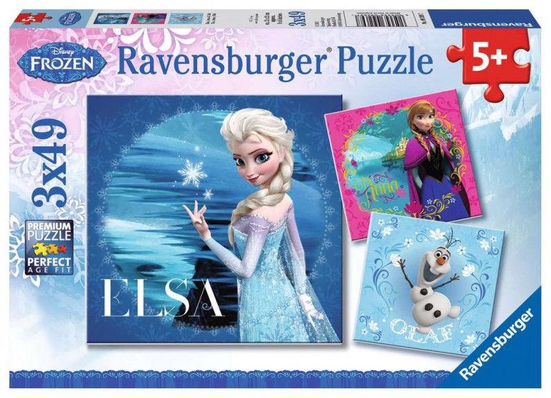 Puzzle 3x49 elementów Kraina Lodu Elsa Anna i Olaf