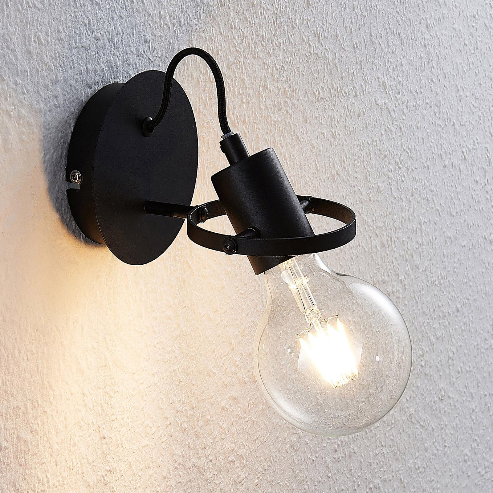 Lindby Mirtel lampa ścienna w kolorze czarnym