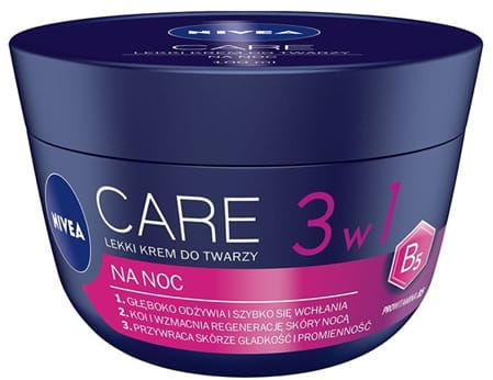 Nivea Care 3w1 lekki krem do twarzy na noc, 100 ml