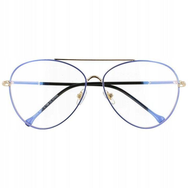 Okulary Pilotki z filtrem światła niebieskiego do komputera zerówki 2529-3
