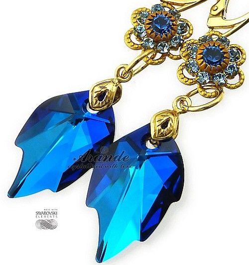 Nowe Kryształy Piękne Kolczyki Blue Feel Gold