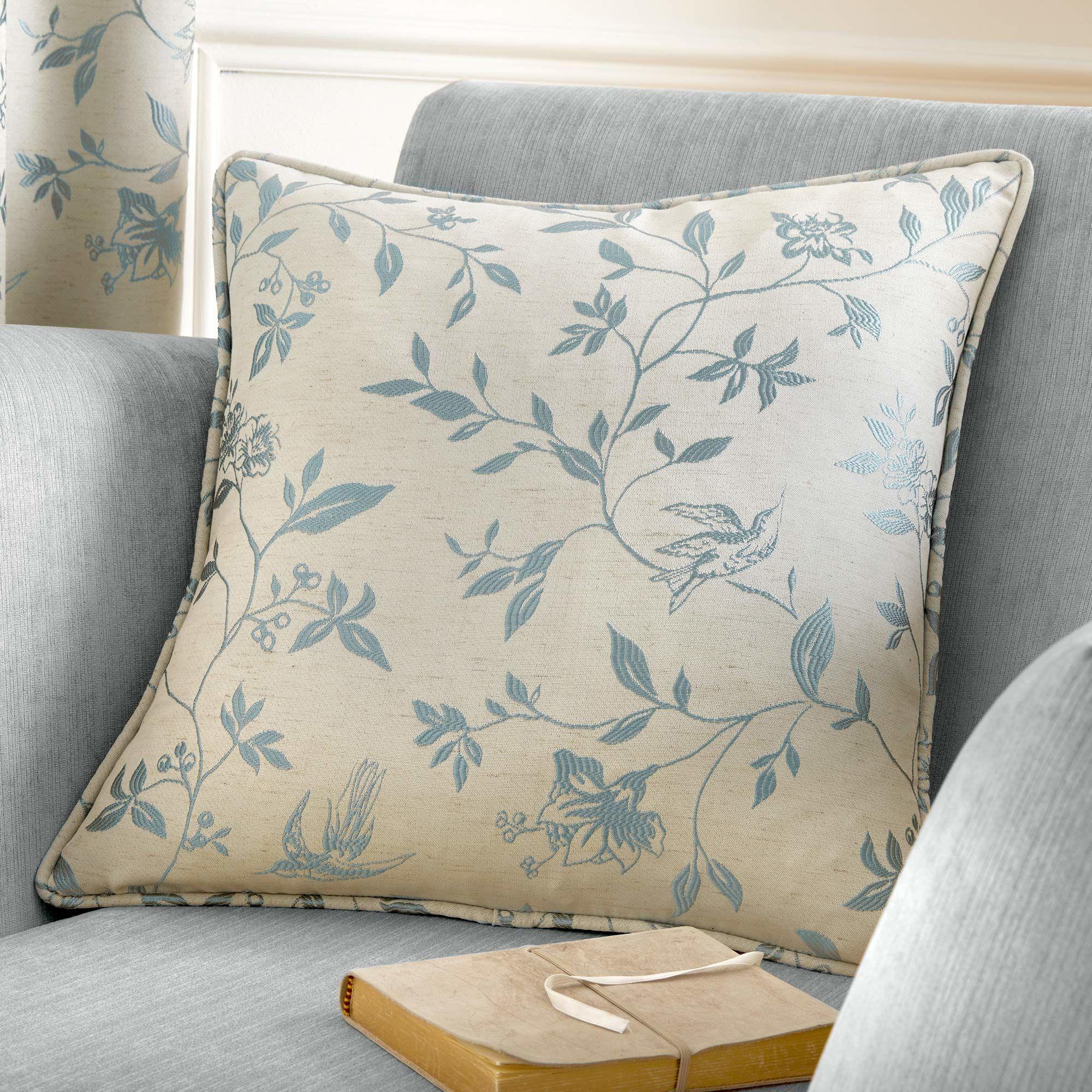 Curtina ptak szlak żakardowa wypełniona poduszką, jajko kacze, 43 x 43 cm