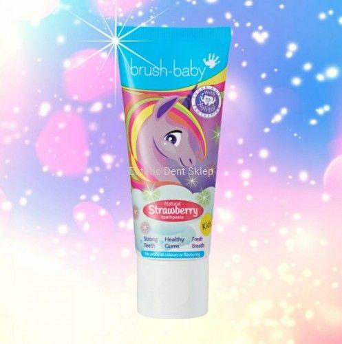 Brush-Baby toothpaste - pasta z fluorem i xylitolem dla dzieci, smak naturalna truskawka 50ml