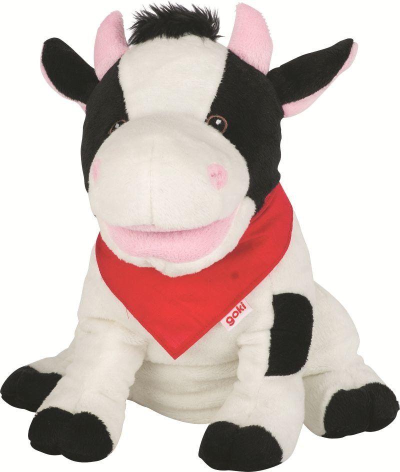 Krowa, pluszowa pacynka na rękę, goki