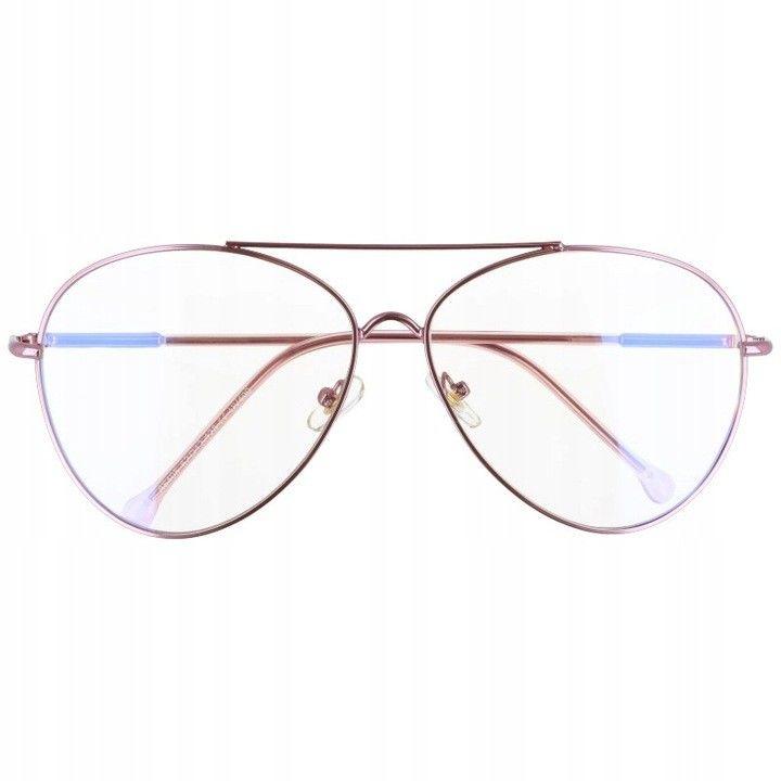 Okulary Pilotki z filtrem światła niebieskiego do komputera zerówki 2529-5