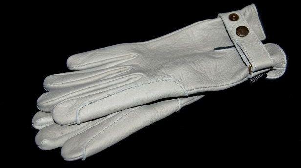 Rękawiczki ze skóry jelenia- jasnoszare - KENIG