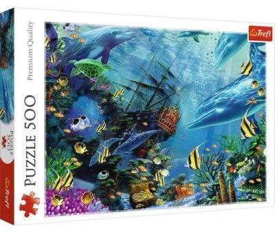 Trefl Puzzle 500 el Ukryty Skarb Morze Ryby Delfiny Statek Żółwie Zwierzęta Trefl 5613-uniw