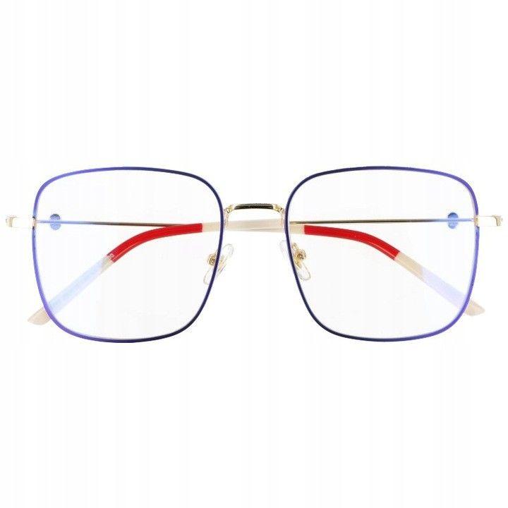 Okulary Kwadratowe z filtrem światła niebieskiego do komputera zerówki 2532-3
