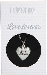 Depesche 10801.006 naszyjnik z zawieszką w kształcie serca, medalion, posrebrzany i nie zawiera niklu, z napisem Love Forever, długość 40-46 cm, srebrny