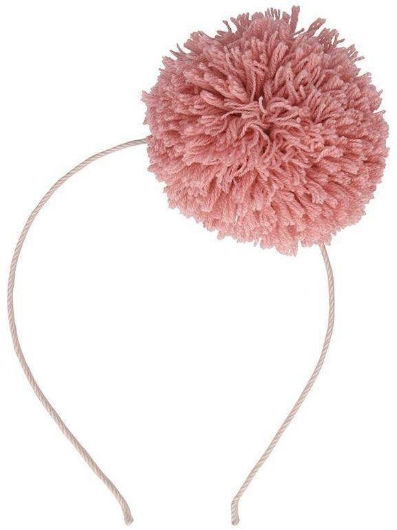 Opaska do włosów pompon różowy